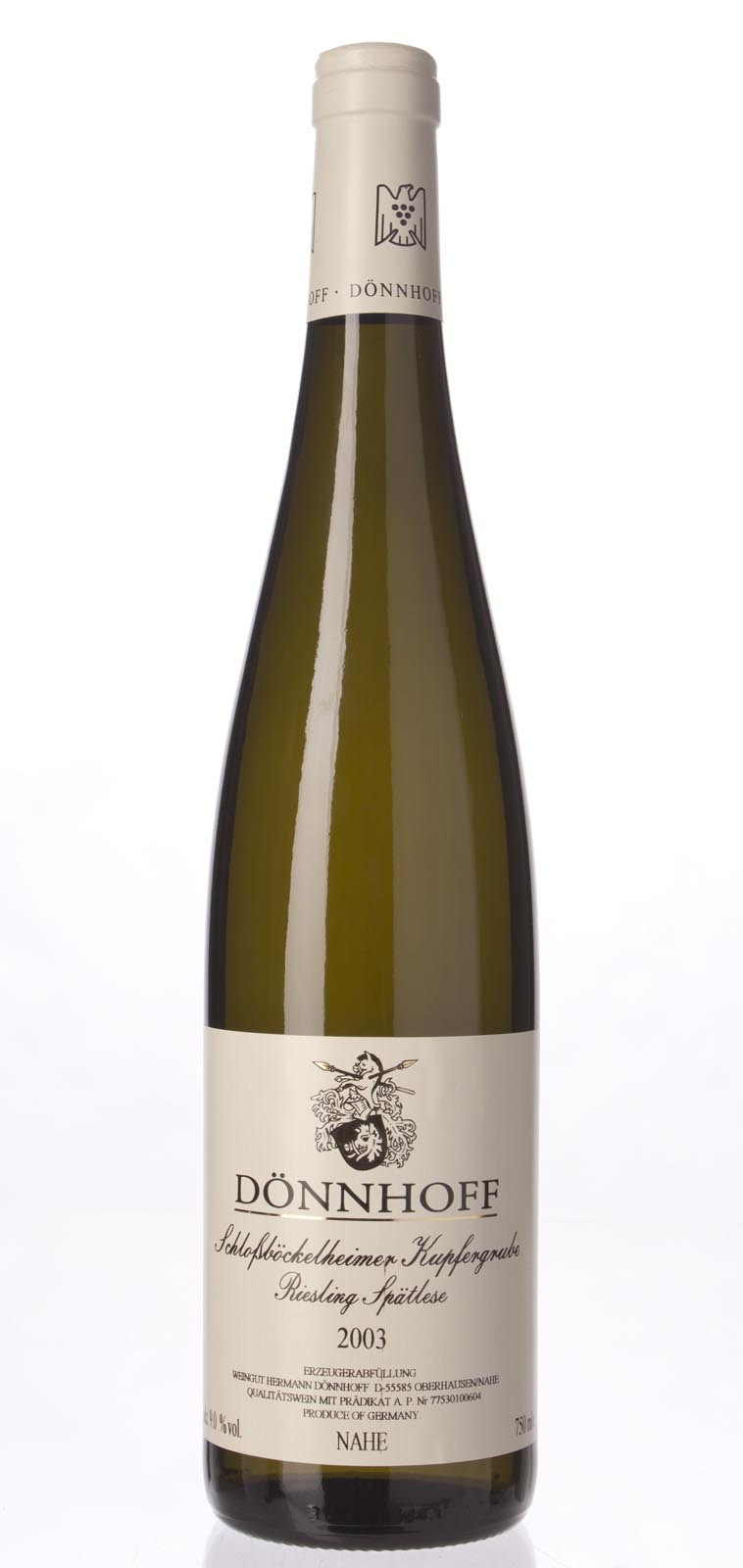 Hermann Donnhoff Schlossbockelheimer Kupfergrube Riesling Spatlese 2003,  (WA93) from The BPW - Merchants of rare and fine wines.