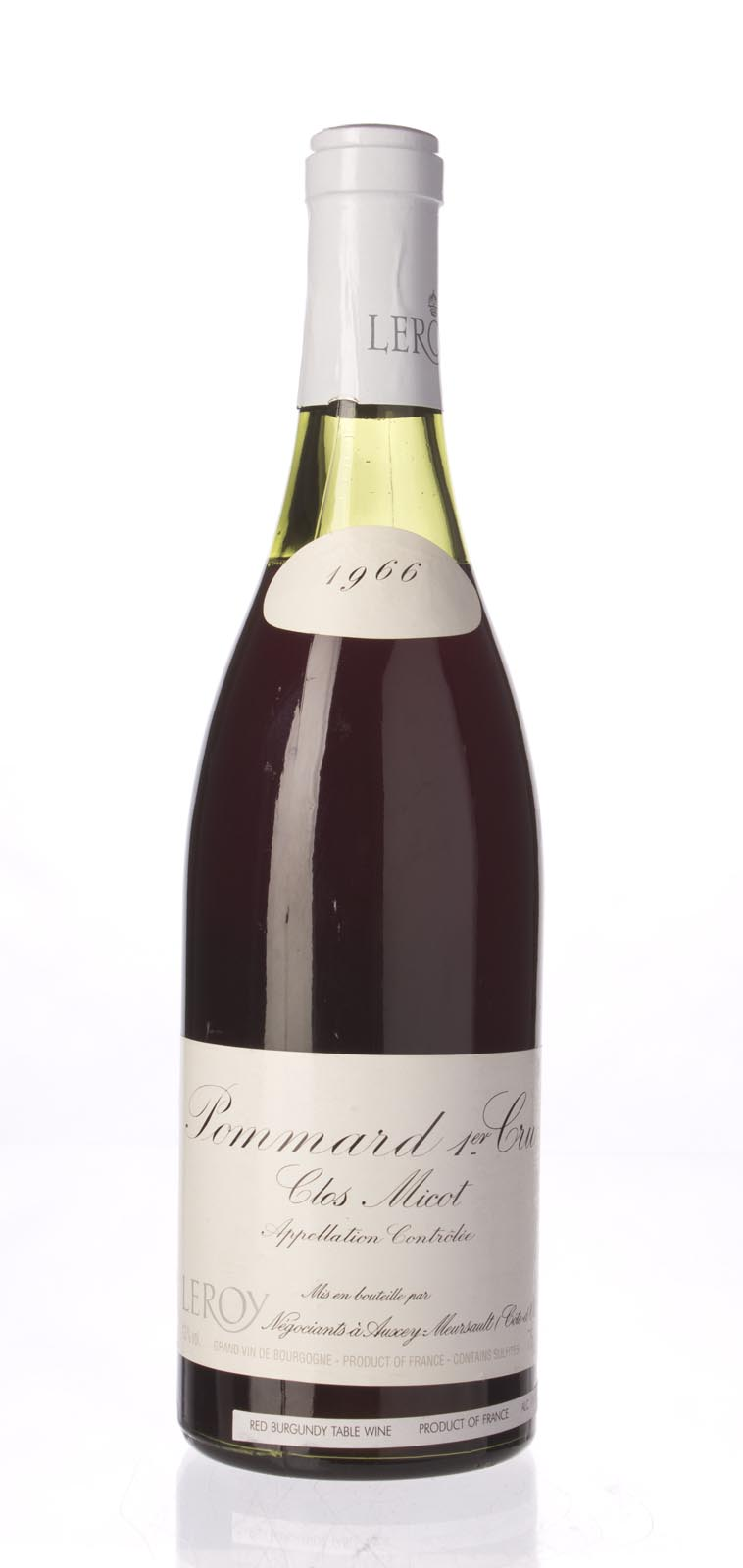 Domaine Leroy Pommard Clos Micot 1966, 750mL () from The BPW - Merchants of rare and fine wines.