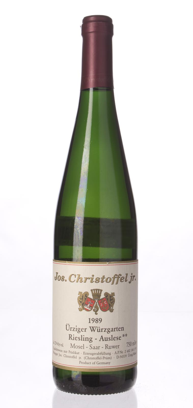 Jos. Christoffel Jun (Christoffel Prum) Urziger Wurzgarten Riesling Auslese** 1989, 750mL () from The BPW - Merchants of rare and fine wines.