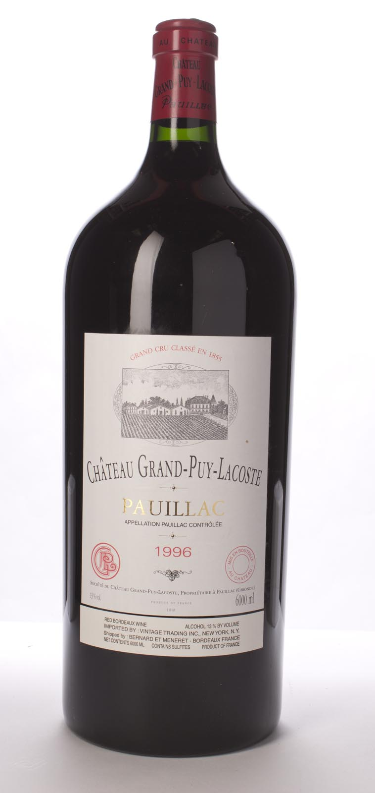 Grand Puy Lacoste 1996, 6L (WA93, WS92) from The BPW - Merchants of rare and fine wines.