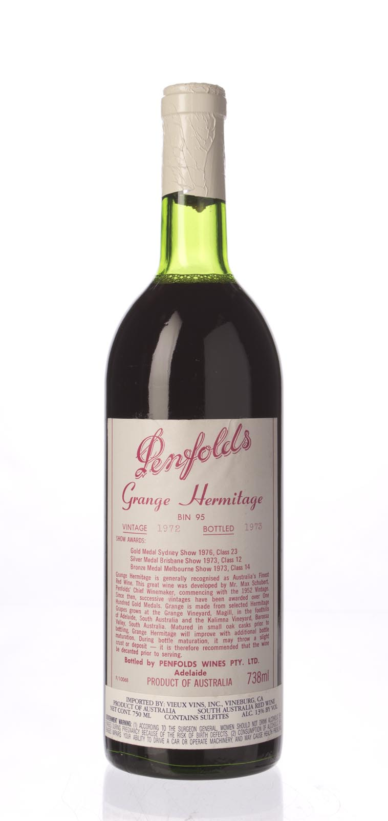 Penfolds Grange Shiraz 1972, 750mL () from The BPW - Merchants of rare and fine wines.
