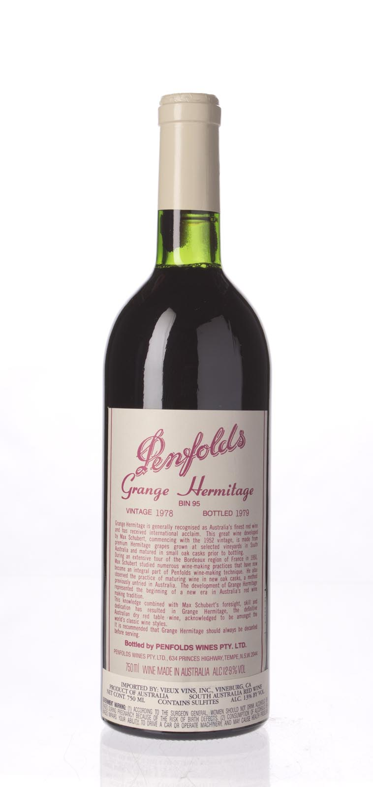 Penfolds Grange Shiraz 1978, 750mL (WA93) from The BPW - Merchants of rare and fine wines.