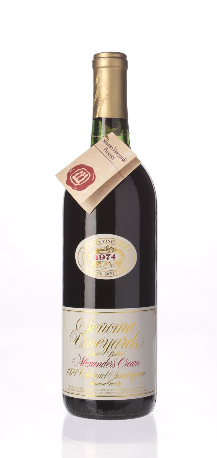 Sonoma Vineyard Cabernet Sauvignon Alexander`s Crown 1974, 750ml () from The BPW - Merchants of rare and fine wines.