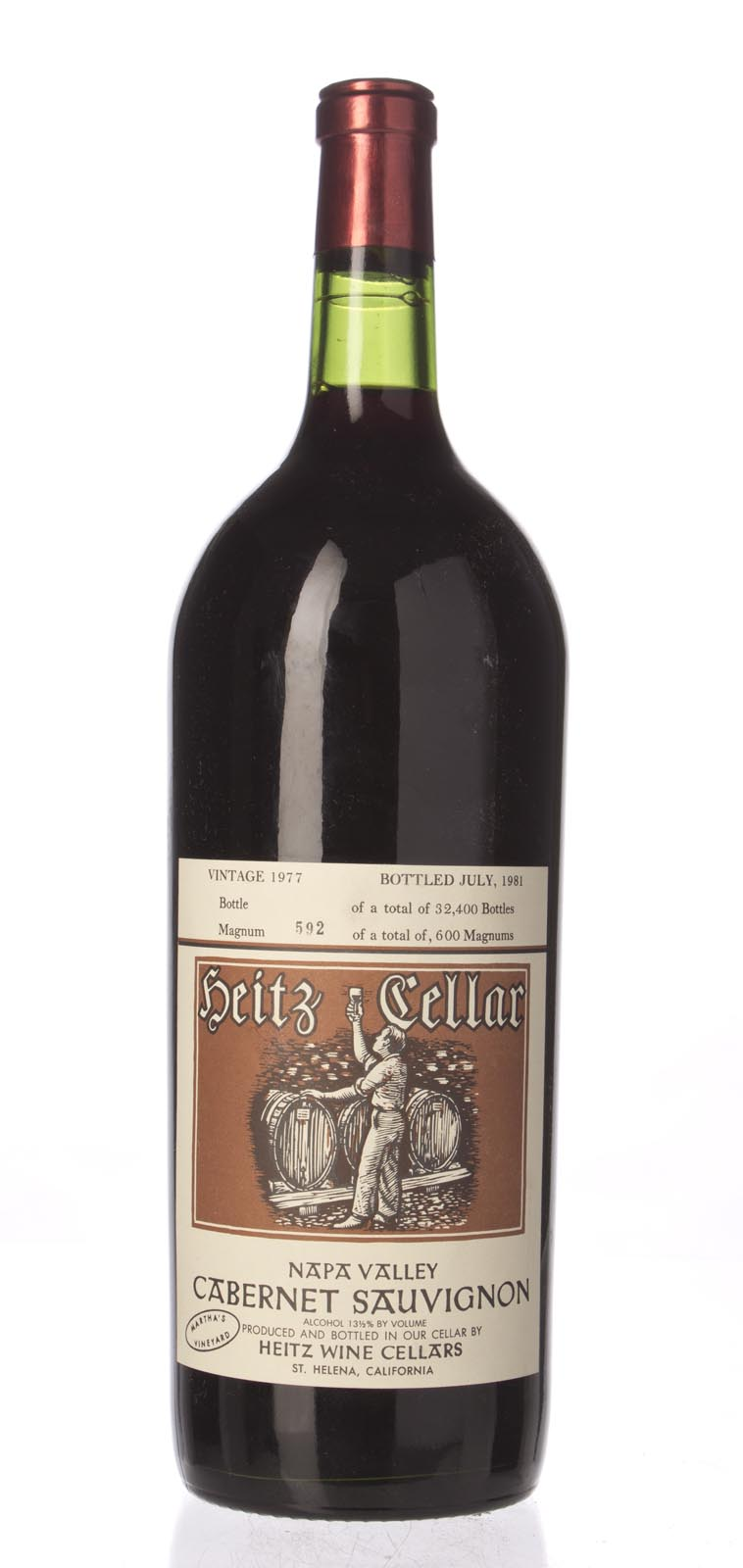 Heitz Cabernet Sauvignon Martha`s Vineyard 1977, 1.5L (WS90) from The BPW - Merchants of rare and fine wines.