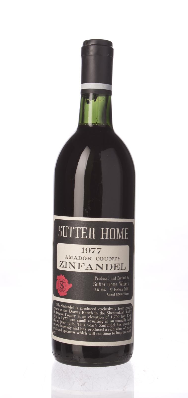 Sutter Home Zinfandel 1977, 750mL () from The BPW - Merchants of rare and fine wines.