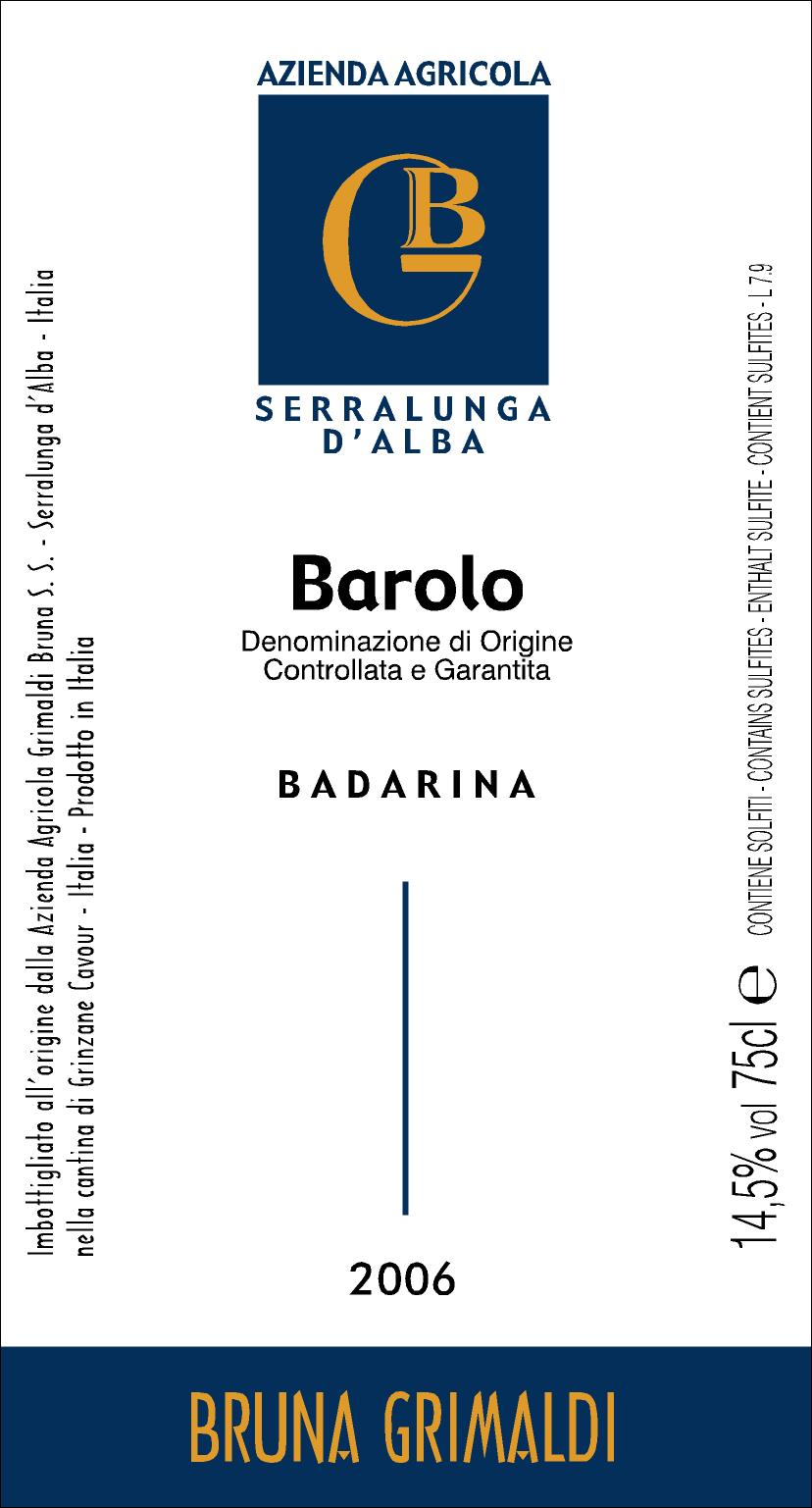 Bruna Grimaldi Barolo Badarina 2008, 750ml (WS94) from The BPW - Merchants of rare and fine wines.