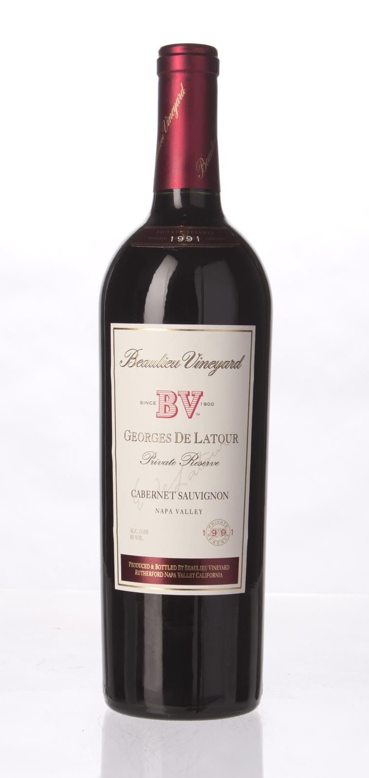 Beaulieu Vineyard Cabernet Sauvignon Private Reserve Georges de Latour 1991,  (WA90, WS90) from The BPW - Merchants of rare and fine wines.