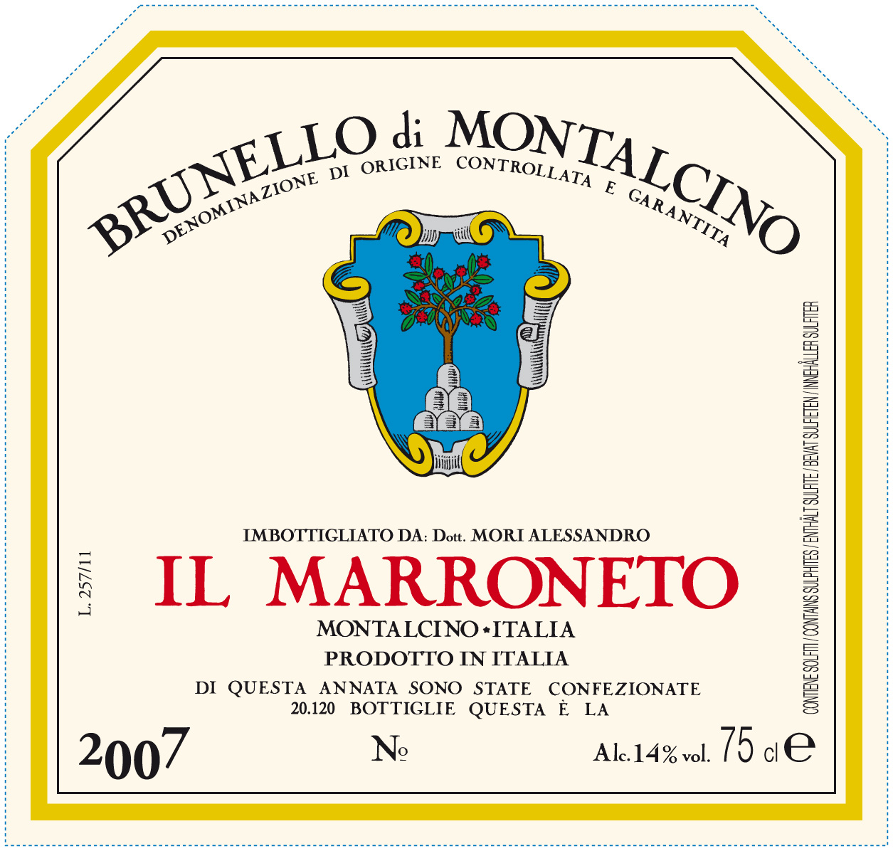 Il Marroneto Brunello di Montalcino 2007, 750ml (WA94, ST92+, WS92) from The BPW - Merchants of rare and fine wines.