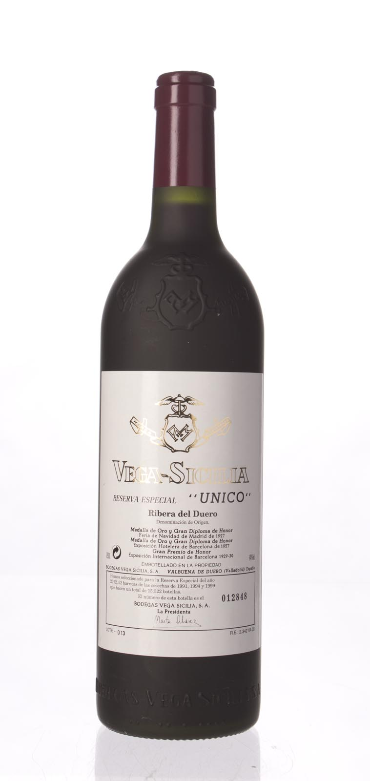 Vega Sicilia Unico Reserva Especial (2012 Release) N.V., 750ml (WA97) from The BPW - Merchants of rare and fine wines.