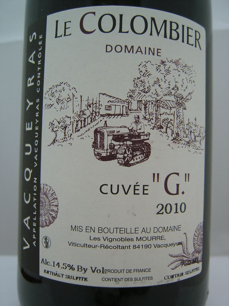 Domaine du Colombier Vacqueyras Cuvee G 2011, 750ml (ST91) from The BPW - Merchants of rare and fine wines.