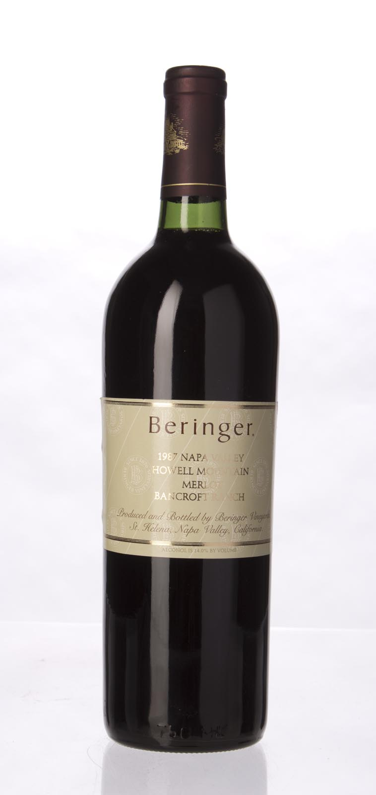 Beringer Merlot Bancroft Ranch 1987, 750mL (WA90, WS91) from The BPW - Merchants of rare and fine wines.