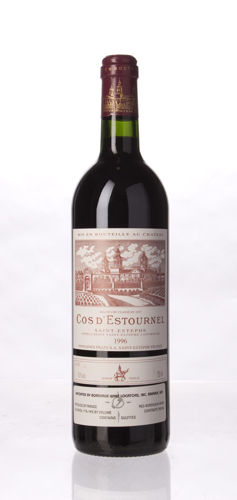 Cos d`Estournel 1996, 750mL (WA93, ST94, WS95) from The BPW - Merchants of rare and fine wines.