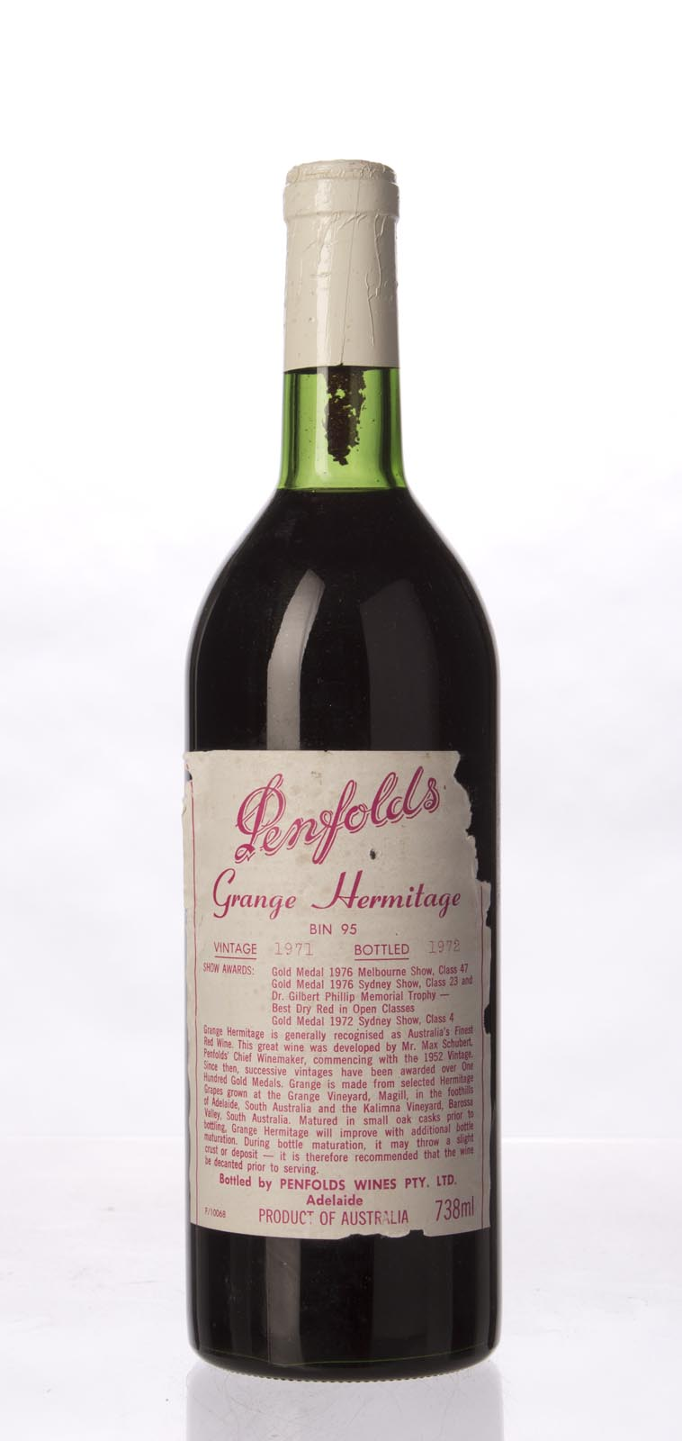 Penfolds Grange Shiraz 1971, 750mL (WA96, WS95) from The BPW - Merchants of rare and fine wines.