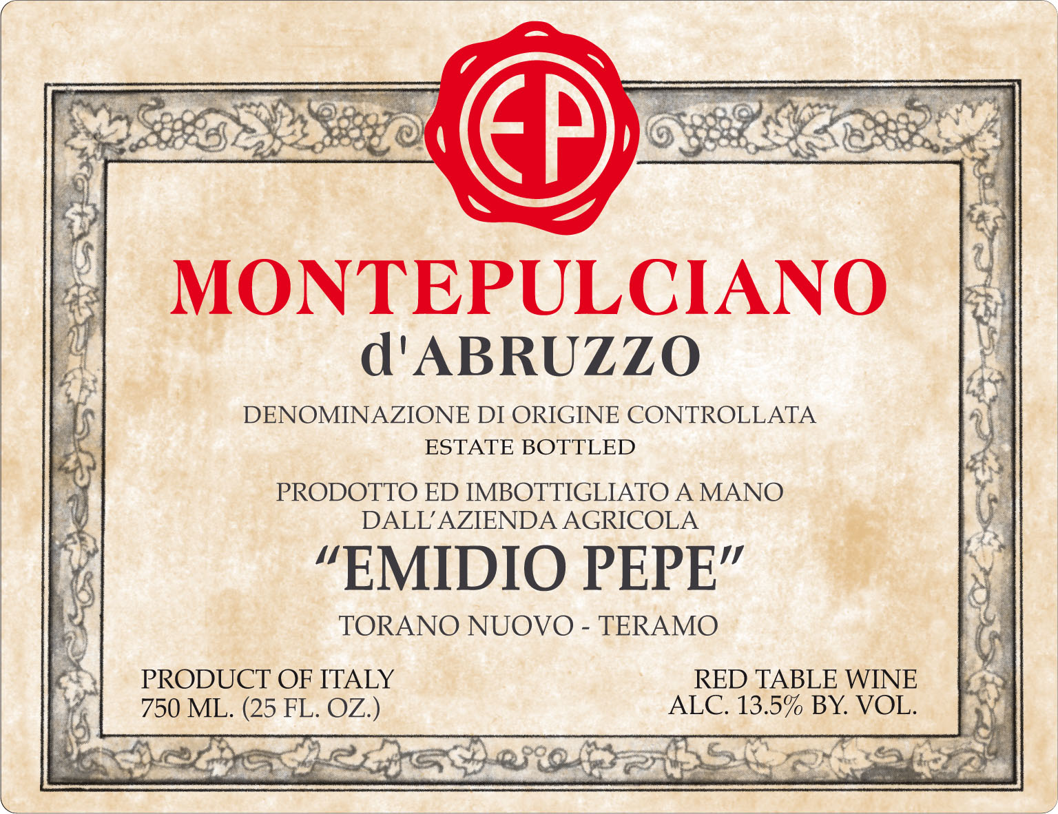 Emidio Pepe Montepulciano d`Abruzzo 2005, 750ml () from The BPW - Merchants of rare and fine wines.