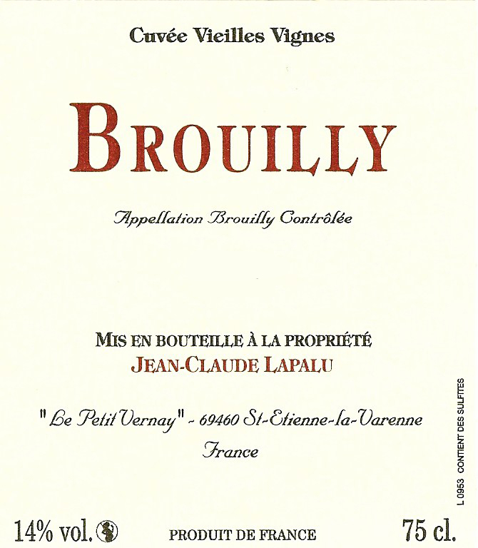 Domaine Jean Claude Lapalu Brouilly la Croix des Rameaux Vieilles Vignes 2012,  () from The BPW - Merchants of rare and fine wines.