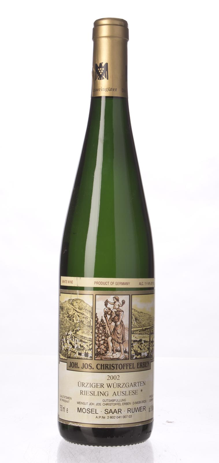 J. J. Christoffel Urziger Wurzgarten Riesling Auslese* Gold Capsule 2002, 750mL () from The BPW - Merchants of rare and fine wines.