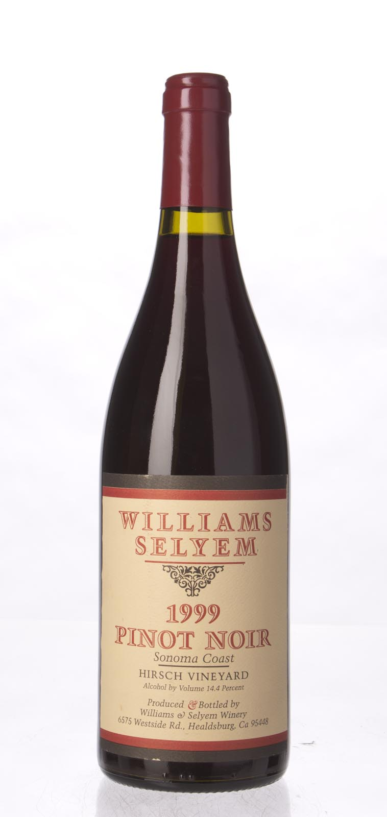 Williams Selyem Pinot Noir Hirsch Vineyard 1999, 750mL (WA90, ST91+, WS91) from The BPW - Merchants of rare and fine wines.