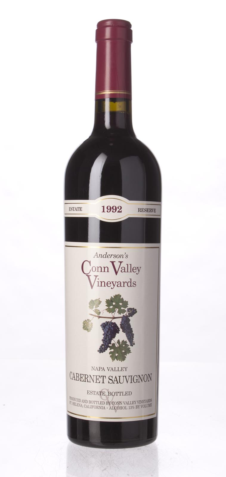 Anderson`s Conn Valley Cabernet Sauvignon Estate Reserve 1992, 750mL (WA92, WS93) from The BPW - Merchants of rare and fine wines.