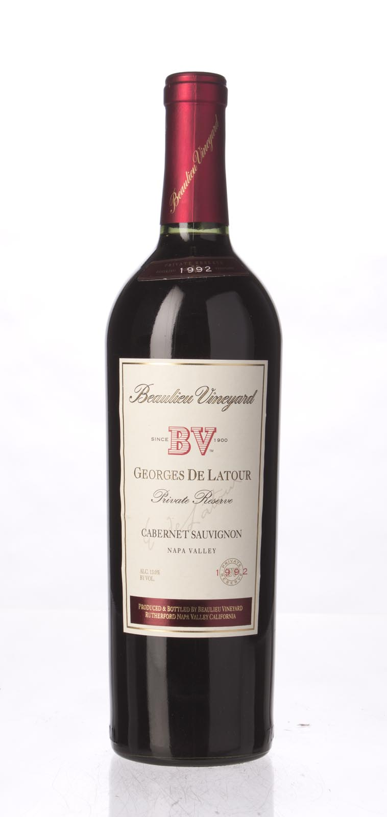 Beaulieu Vineyard Cabernet Sauvignon Private Reserve Georges de Latour 1992, 750mL (WA89) from The BPW - Merchants of rare and fine wines.