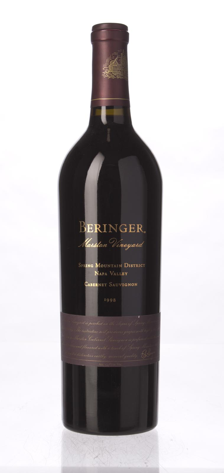 Beringer Cabernet Sauvignon Marston Vineyard 1998, 750ml (WS91) from The BPW - Merchants of rare and fine wines.