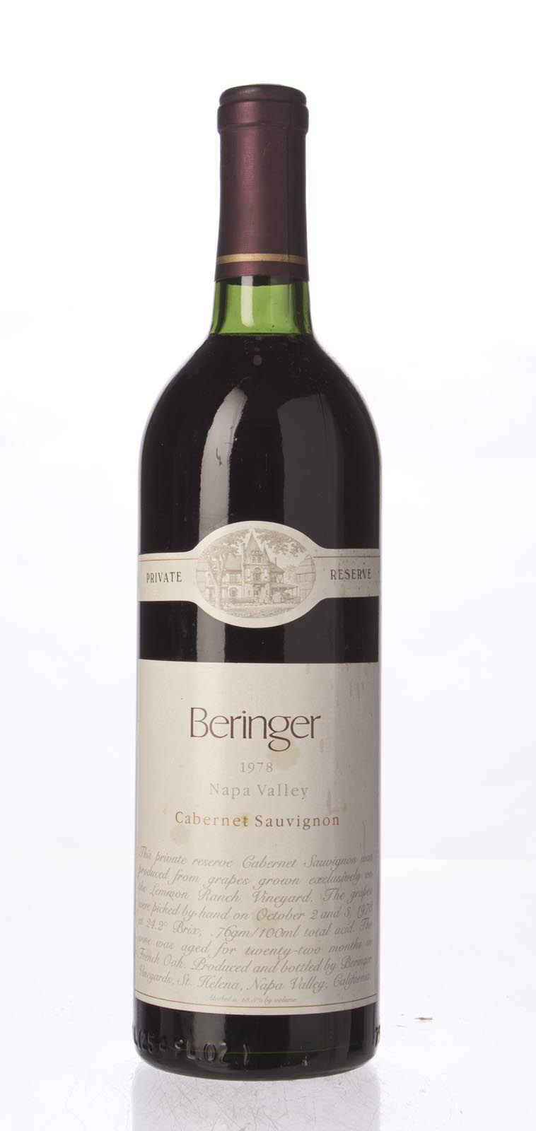 Beringer Cabernet Sauvignon Private Reserve 1978, 750mL (WS95) from The BPW - Merchants of rare and fine wines.
