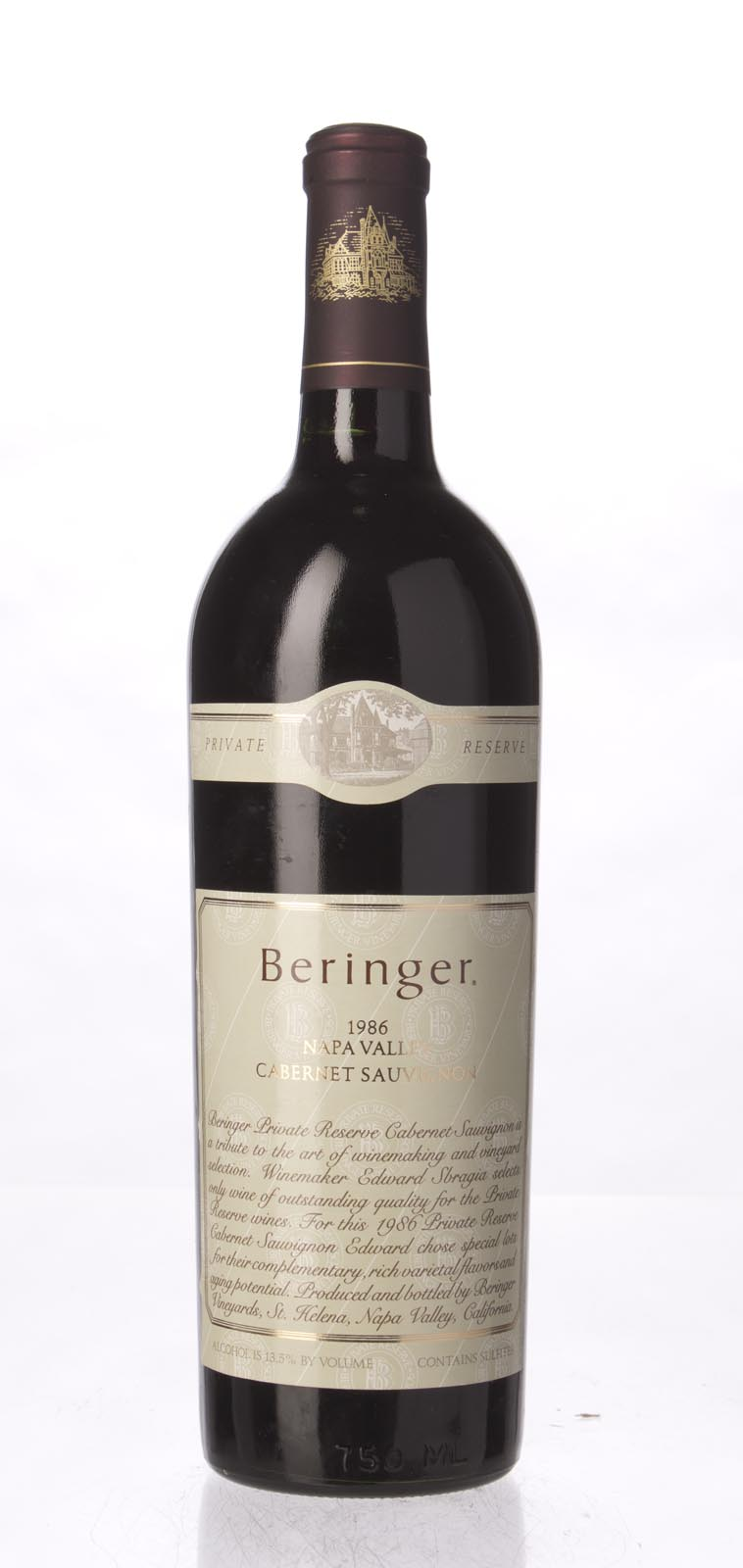 Beringer Cabernet Sauvignon Private Reserve 1986, 750mL (WS95) from The BPW - Merchants of rare and fine wines.