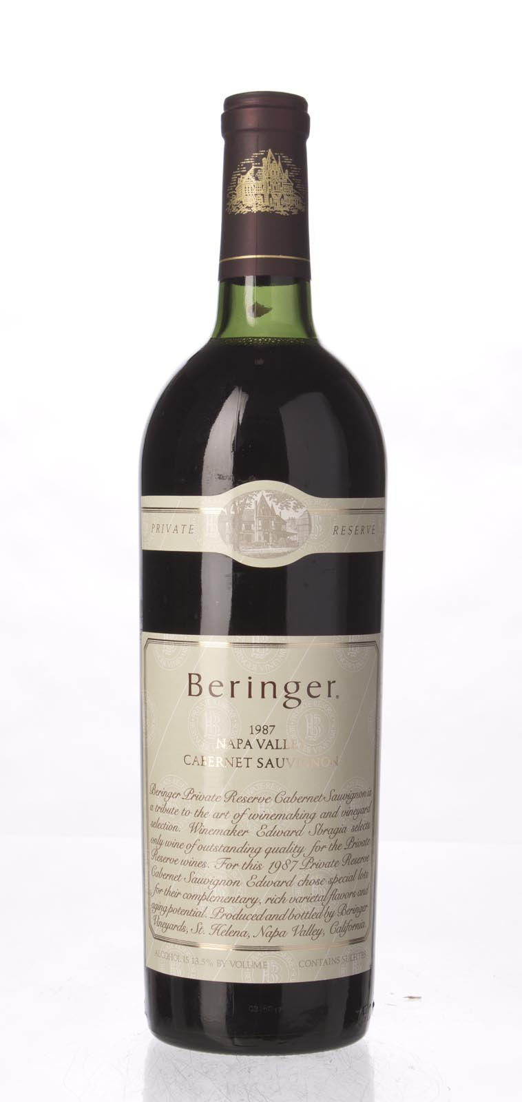 Beringer Cabernet Sauvignon Private Reserve 1987, 750mL (WS97) from The BPW - Merchants of rare and fine wines.