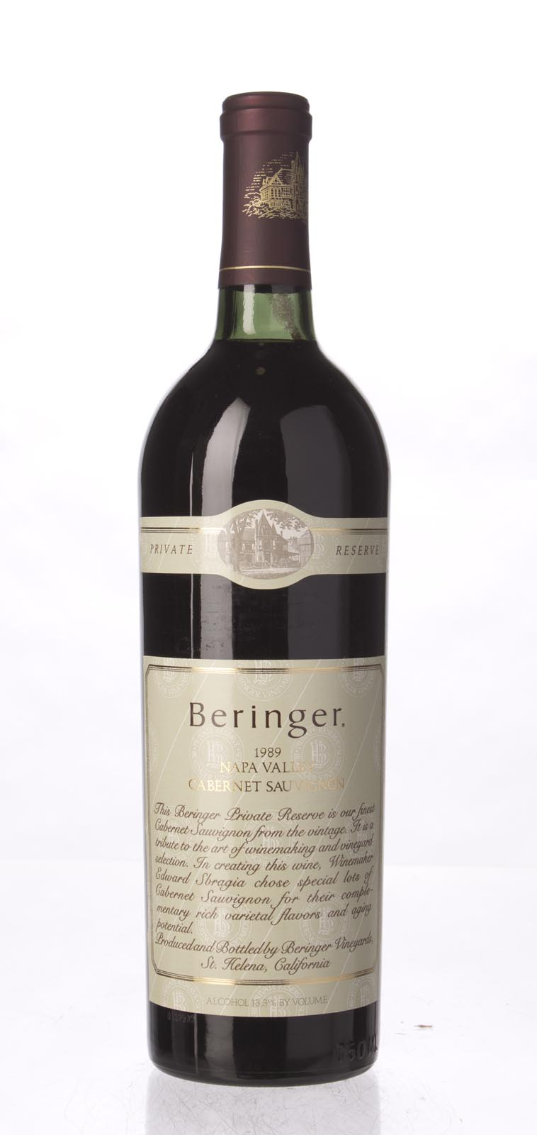 Beringer Cabernet Sauvignon Private Reserve 1989, 750mL (WA90, WS91) from The BPW - Merchants of rare and fine wines.