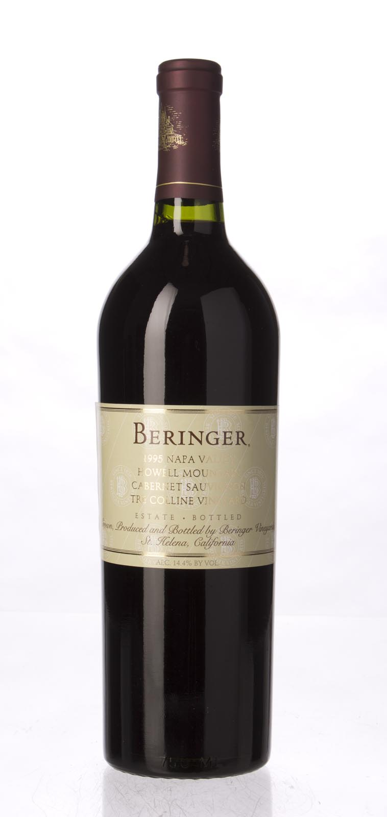 Beringer Cabernet Sauvignon Tre Colline Vineyard 1995, 750ml (WA90, WS92) from The BPW - Merchants of rare and fine wines.