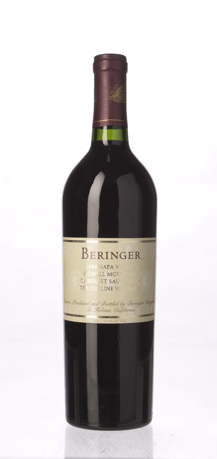 Beringer Cabernet Sauvignon Tre Colline Vineyard 1996, 750mL (WS91) from The BPW - Merchants of rare and fine wines.