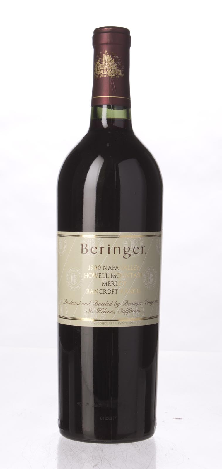 Beringer Merlot Bancroft Ranch 1990, 750mL (WA89) from The BPW - Merchants of rare and fine wines.