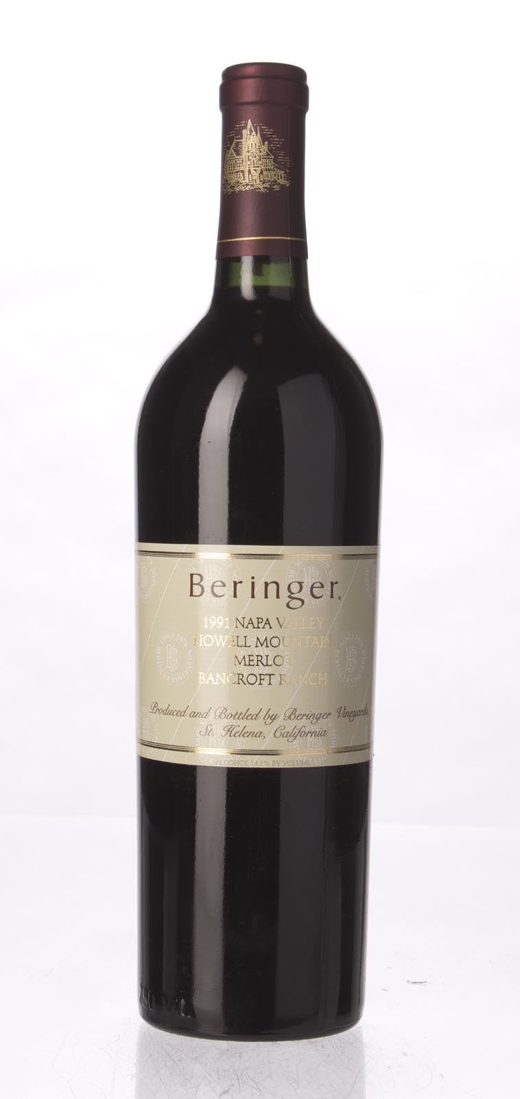 Beringer Merlot Bancroft Ranch 1991, 750mL (WA93) from The BPW - Merchants of rare and fine wines.