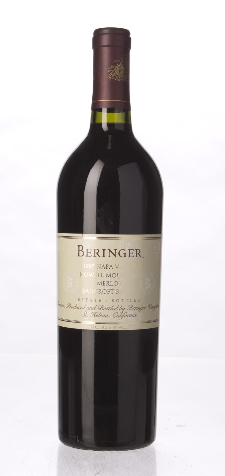 Beringer Merlot Bancroft Ranch 1995, 750mL (WA91, ST92, WS92) from The BPW - Merchants of rare and fine wines.