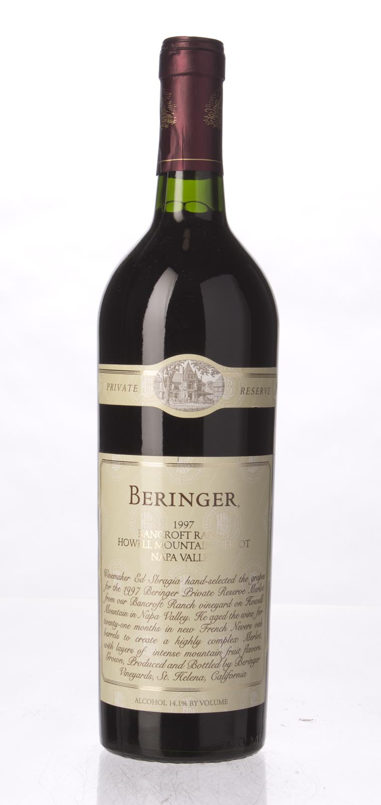Beringer Merlot Bancroft Ranch 1997, 750mL (WA92, ST91, WS93) from The BPW - Merchants of rare and fine wines.