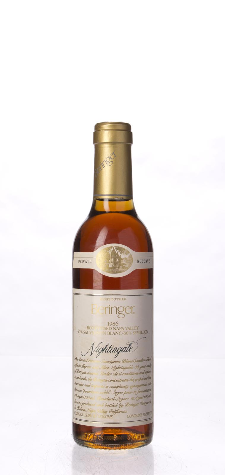 Beringer Nightingale Botrytised White Private Reserve 1986, 375ml () from The BPW - Merchants of rare and fine wines.