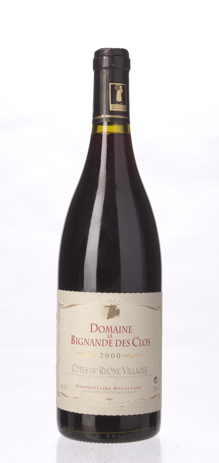 Domaine la Bignande des Clos Cotes du Rhone Villages 2000, 750mL () from The BPW - Merchants of rare and fine wines.