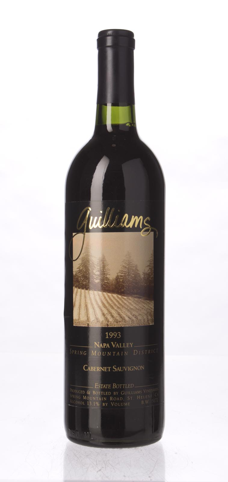 Guilliams Cabernet Sauvignon Spring Mountain 1993, 750mL () from The BPW - Merchants of rare and fine wines.