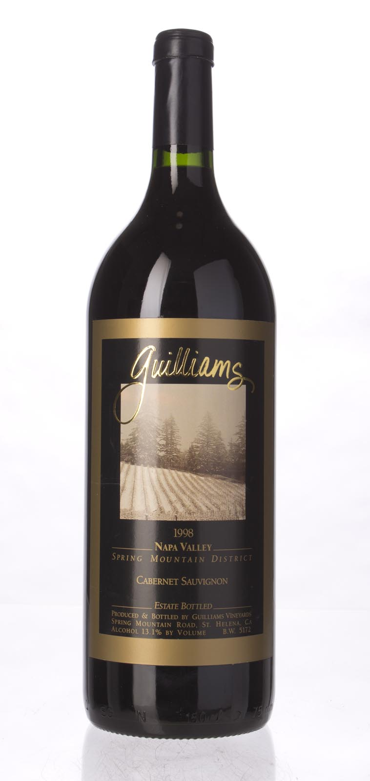 Guilliams Cabernet Sauvignon Spring Mountain 1998, 1.5L () from The BPW - Merchants of rare and fine wines.