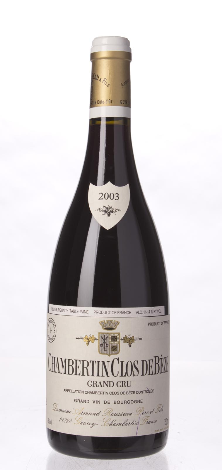Domaine Armand Rousseau Chambertin Clos de Beze 2003, 750ml (WA93) from The BPW - Merchants of rare and fine wines.