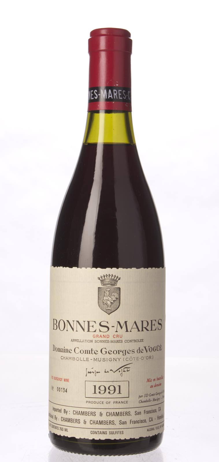 Comte de Vogue Bonnes Mares 1991, 750ml (BH92, WS93) from The BPW - Merchants of rare and fine wines.