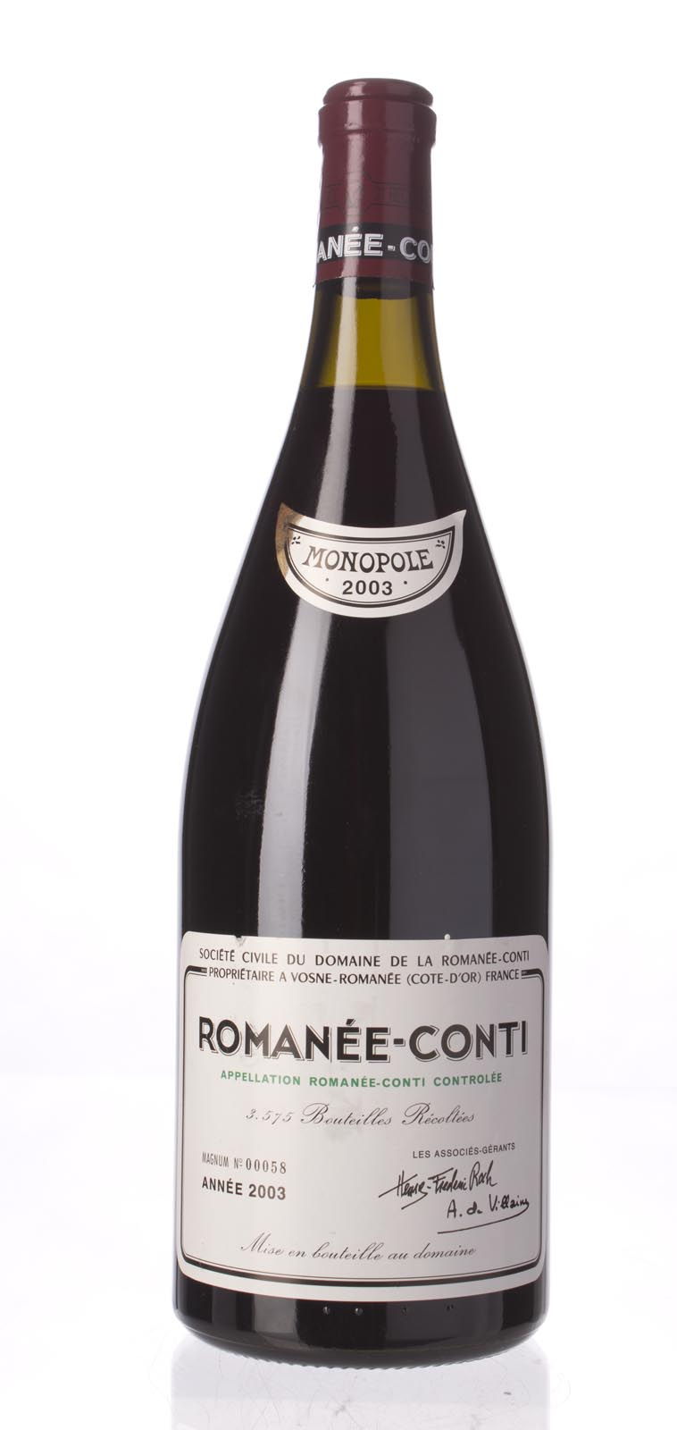 Domaine de La Romanee Conti Romanee Conti 2003, 1.5L (BH96, WA95, ST97+) from The BPW - Merchants of rare and fine wines.
