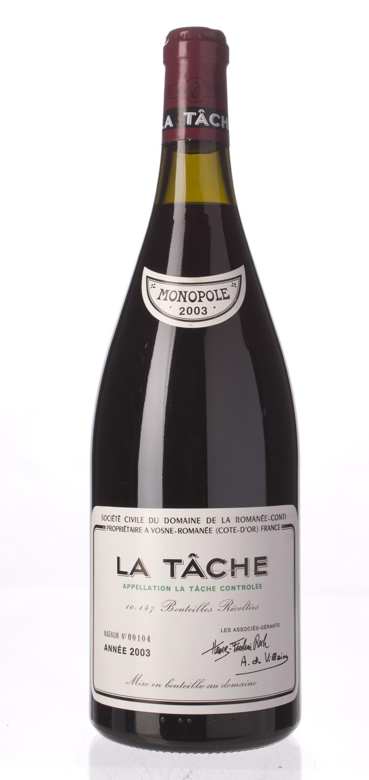Domaine de La Romanee Conti la Tache 2003, 1.5L (WA99) from The BPW - Merchants of rare and fine wines.