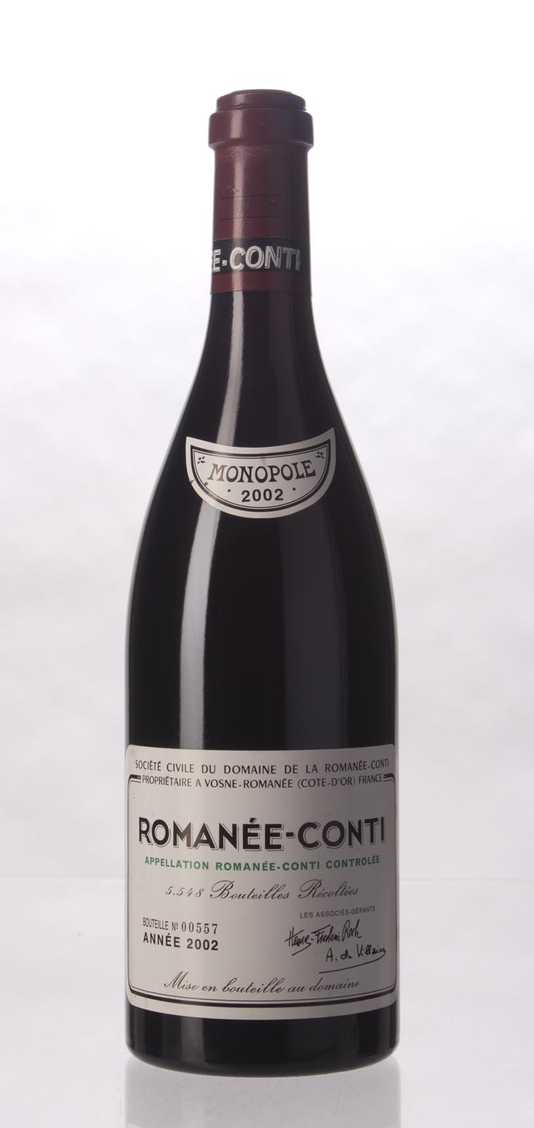 Domaine de La Romanee Conti Romanee Conti 2002, 750mL (ST95, Burghound 97 points!) from The BPW - Merchants of rare and fine wines.