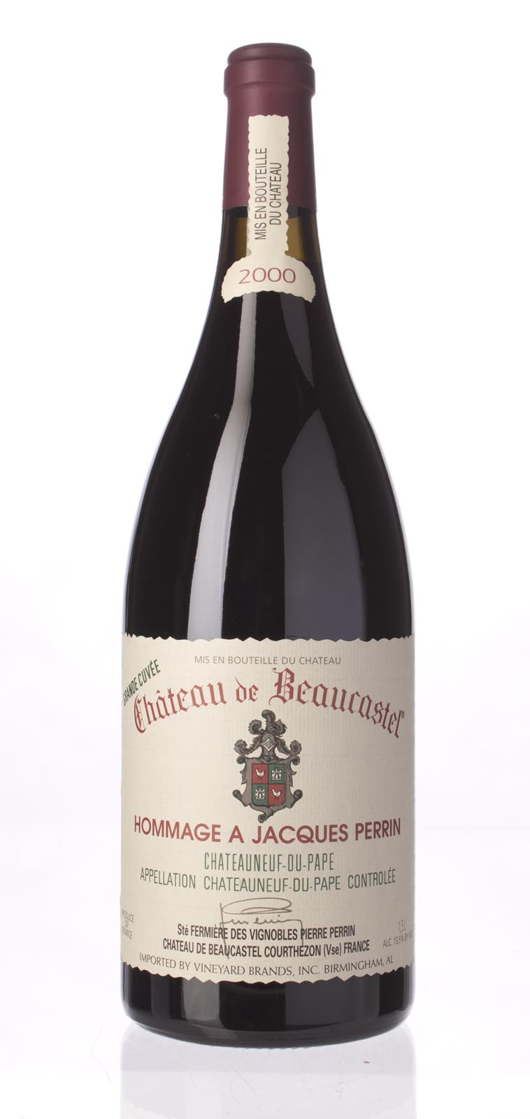 Chateau Beaucastel Chateauneuf du Pape Hommage A Jacques Perrin 2000, 1.5L (WA97, ST95-98) from The BPW - Merchants of rare and fine wines.