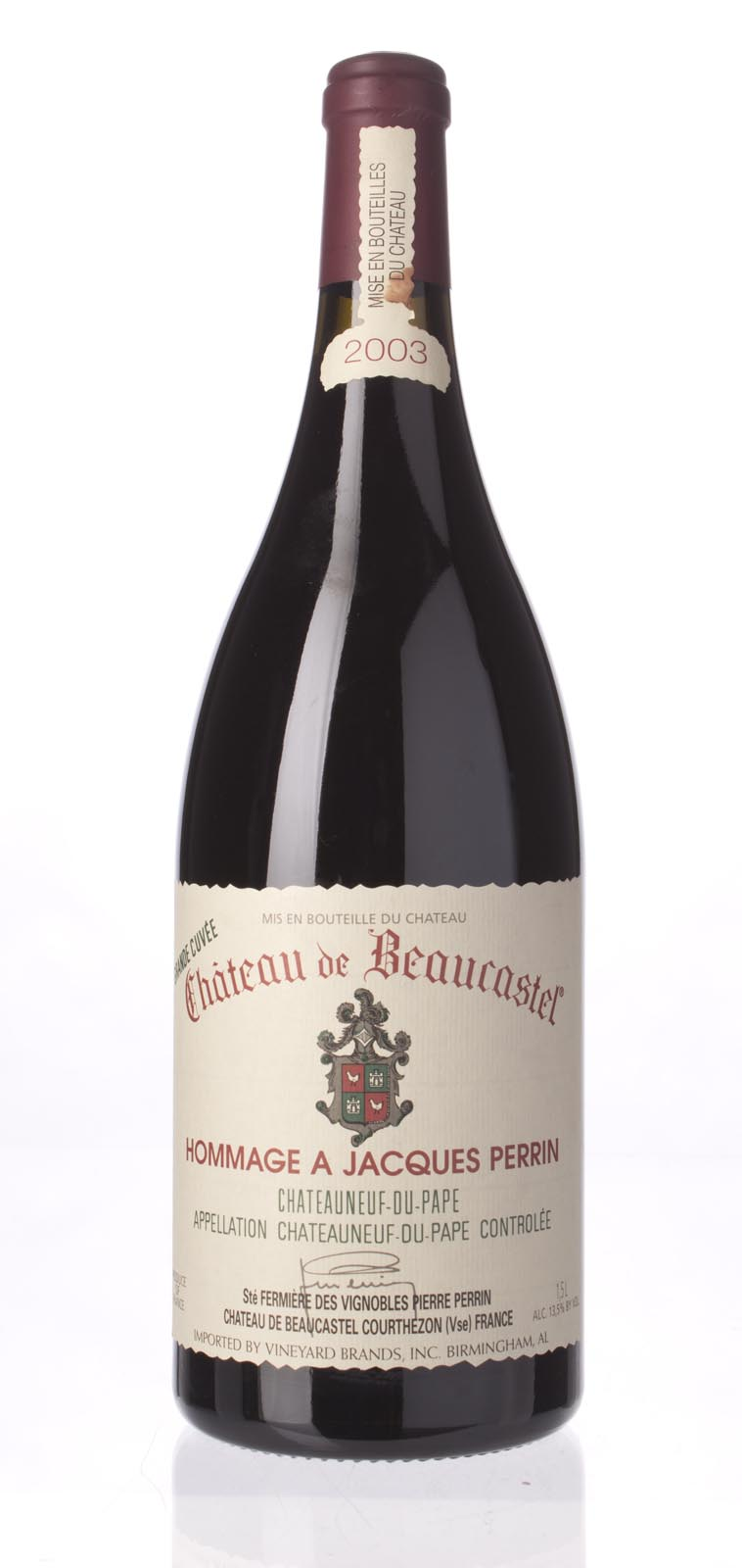 Chateau Beaucastel Chateauneuf du Pape Hommage A Jacques Perrin 2003, 1.5L (WA95, WS95) from The BPW - Merchants of rare and fine wines.