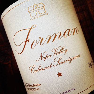2010 Napa Valley Cabernet Sauvignon Case ( 12 x 750ml bottles ) - Forman Vineyard
