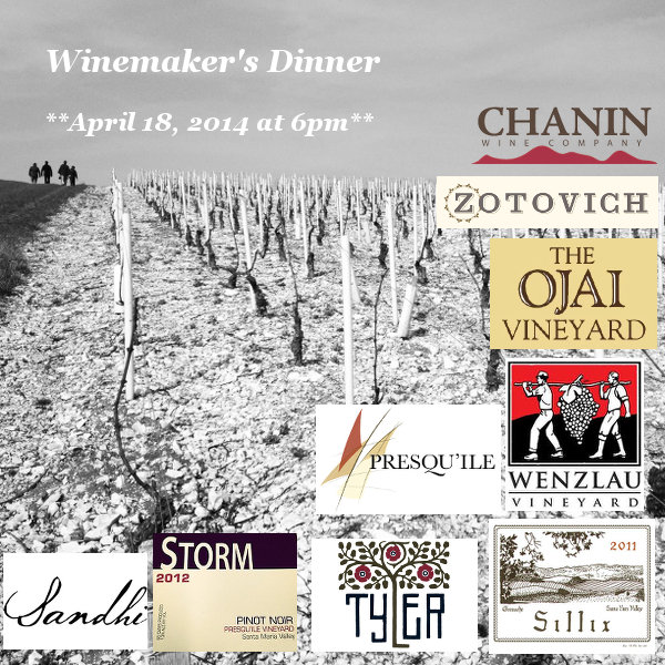Winemakers Dinner - Santa Barbara County Wine Futures Tasting ***Friday April 18 at 6pm*** -