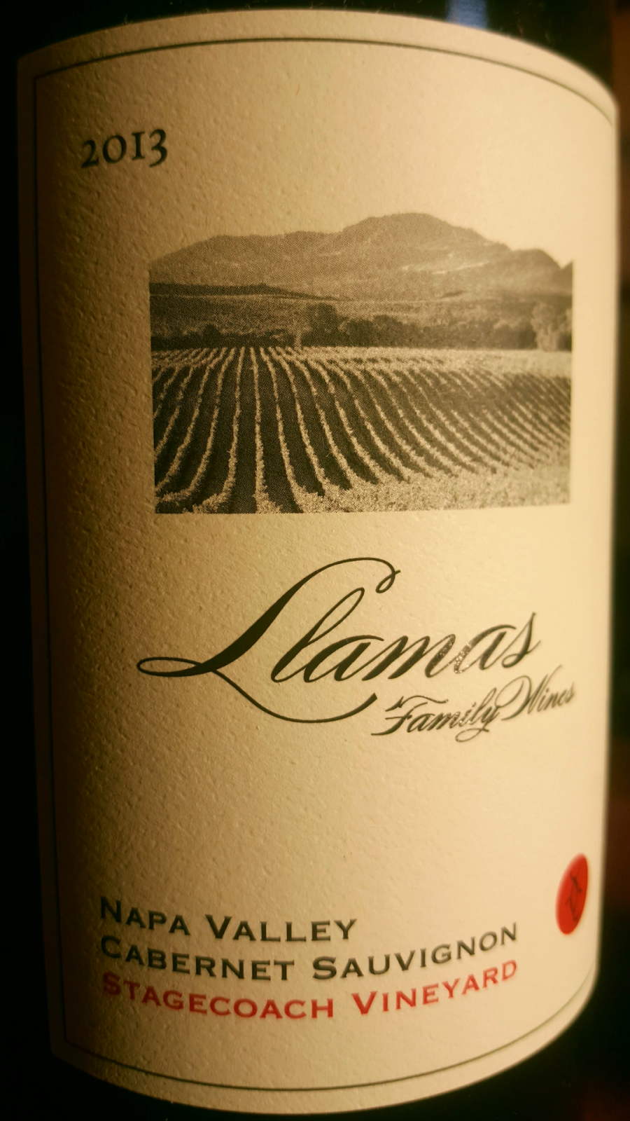 2013 Llamas Family Stagecoach Vineyards Cabernet Sauvignon Pritchard Hill Block I2B - Llamas Family Wines