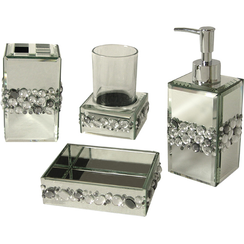 Black bling bathroom accessories black bling diamante for Bathroom accessories with bling