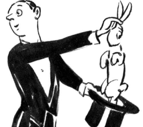 Magician Pulling Rabbit out of Hat